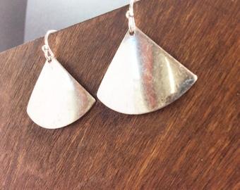 SILVER MOD Geometric Drop Earrings Triangle Solid Modern Dangle Metal Minimalist Women Handmade Simple Surgical Steel Hooks Geo