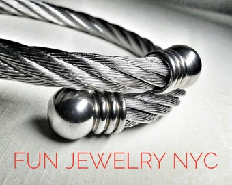 BIG BAD CABLE Bracelet! Stainless Steel, Boyfriend Gift, Unisex,Heavy, Solid,Dad,Modern,Masculine Simple,Twist Silver Fun Jewelry Nyc
