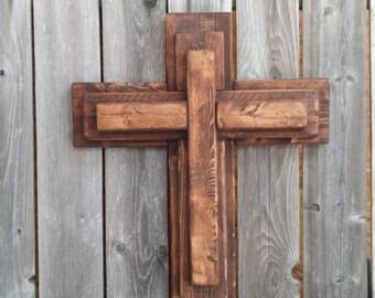 Unique 3 Tier Wooden Cross, Rustic Wood Cross, Decorative Crosses, Wall  Decor, Unique Wall Crosses