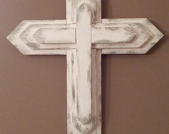 Unique 3 Tier Wooden Cross, Rustic Wood Cross, Decorative Crosses,Wall Decor,  Unique Wall Crosses