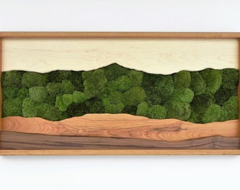 Green Mountain moss wall art /Sugar maple, cherry, walnut, preserved moss/
