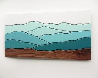 Mountain scene wood wall art /Maple, Cherry, Black walnut, paint/