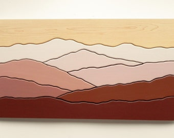 Mountain scene wood wall art /Maple, cherry, painted/