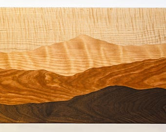 Mountain view cutting board /Tiger maple, Curly birch, Cherry, Black walnut/