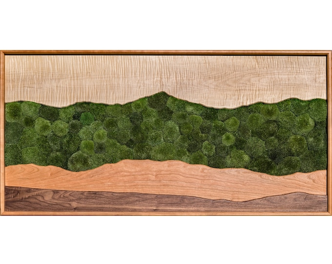 Featured listing image: Green Mountain moss wall art /Sugar maple, cherry, walnut, preserved moss/