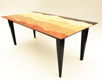 Mountain view coffee table /Black walnut, Tiger maple, Curly birch, Cherry, Red birch, Ebonized cherry/