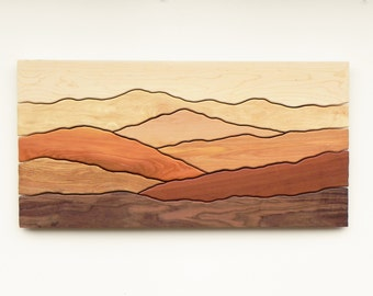 Mountain scene wood wall art /Sugar maple, Yellow birch, Red birch, Cherry, Butternut, Mahogany, Black walnut/