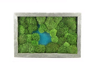 Sterling pond moss art /Preserved moss, Reclaimed wood, Epoxy/