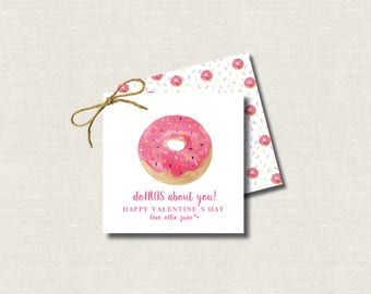 Valentine's Day Hand Painted Watercolor Calling Cards Donut / Gift Tags / Favor Tags / Valentine's Treat Tags / Class Treats