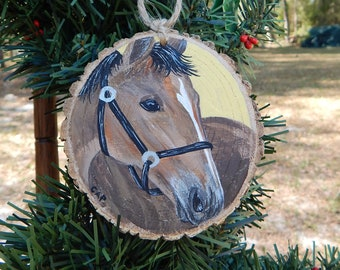 Horse hand painted wood slice ornament