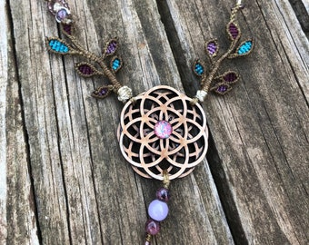 Seed of Life, Fairytale Necklace, Nature Necklace, Plants, Macrame Jewelry, Trees and Leaves, Sacred Mother Gift, Chakra Necklace, Yogi Art