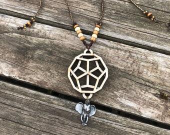 Elephant Spirit Necklace, Macrame, Chakra Pendant, Yoga Jewelry, Sacred Geometry, Zen Jewelry, Healing Jewelry, LaserArt, Healing Art, Yogi