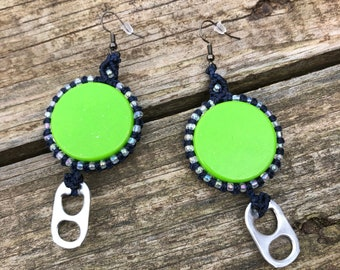 Bottle Cap Earrings, Macrame Wrap, Bottle Cap Art, Sustainable Fashion, Beer Art, Recycled Jewelry, Unique gifts, Mother's Day Gift, Funky