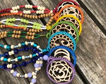 Set of 7, Chakra Necklaces, Macrame Jewelry, Healing Jewelry, Rainbow Jewelry, Balancing Chakras, Yogi Art Chakra Pendant, Mother's Day Gift