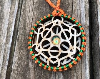 Water & Spirit Macrame Necklace, Chakra Pendant, Yoga Jewelry, Sacred Geometry, Zen Jewelry, Energy Healing, Macrame Art, High Vibes