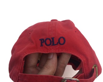 2e651213 Vtg 90s Polo Ralph Lauren small pony red cap/hat strap one size fits all  unisex cap