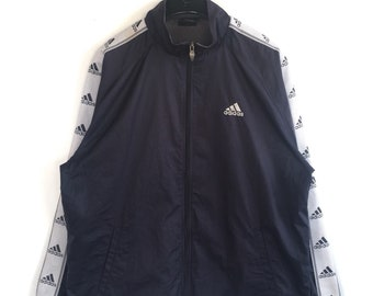 00c441ecaaba Vtg rare 90s Adidas spell out sidetape logos hip hop swag rapper fashion  zipper jacket size M