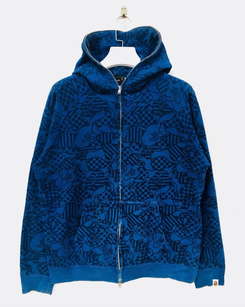 6748b697a738 A Bathing Ape Fall Winter BAPE COOKIE CAMO On Blue Full Ziper
