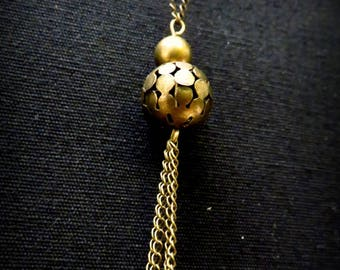 Sequins and brass openwork ball necklace drops in mustard yellow enamel
