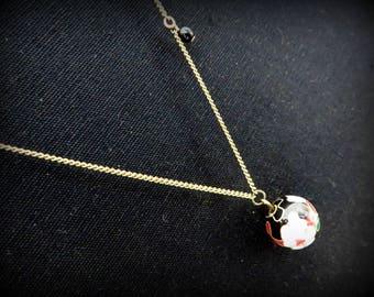 Retro necklace asymmetrical brass Chinese flower