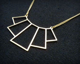 Necklace art deco bib openwork Golden brass