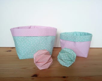 Reversible Aqua cotton baskets triangles white and pink polka dots