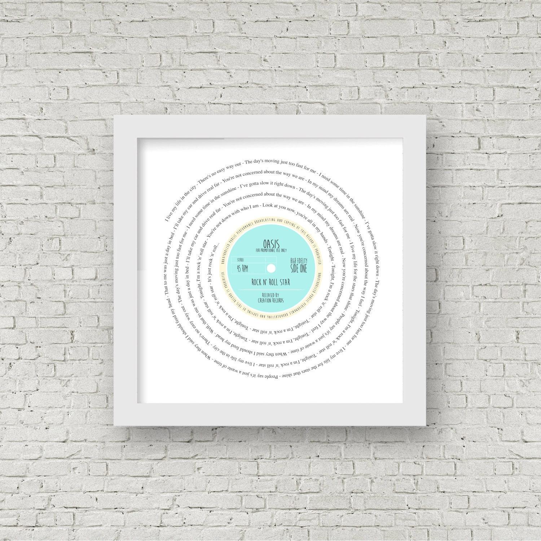 Personalised 60th Birthday Print of Song Lyrics in Vinyl Record#1 Day Born