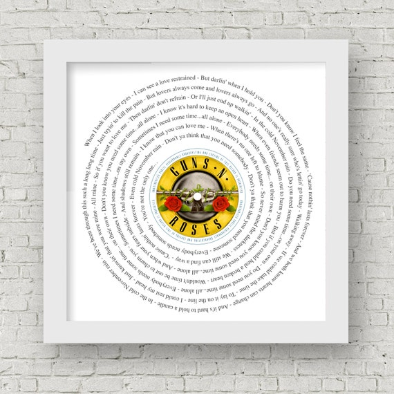November Rain framed song lyrics Guns /'n Roses Slash Axl Rose any song