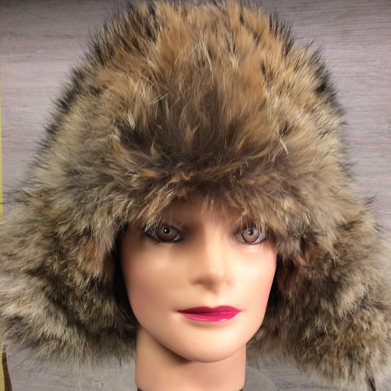 Hat fur Trapper style hat in brown leather women and the  9a6439abb68