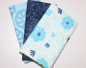 3 Fat Quarters - Light blue, navy - cotton fabric