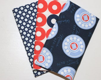 3 Fat Quarters - Orange, Navy, White - 100% cotton fabric