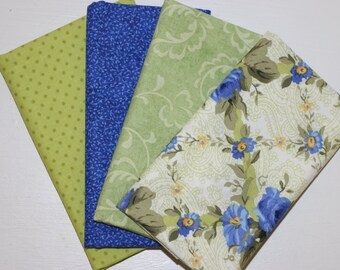 4 Fat Quarters - prewinkle and light green - cotton fabric