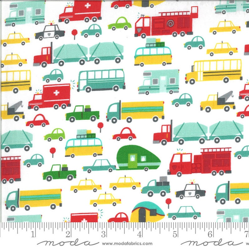 Moda Cloud Sold by the yard 20721 11-100/% cotton fabric On The Go by Stacy Iest Hsu s