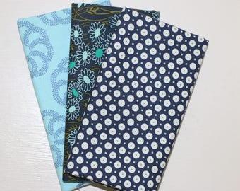 3 Fat Quarters - Navy Blue - cotton fabric