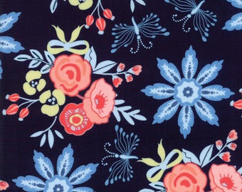 Moda - Bloomsbury by Franny and Jane - Navy - 47510 12 - 100% cotton fabric - Last yard