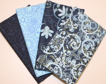 4 Fat Quarters (navy and light blue) - Cotton fabric
