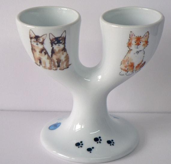 Cats design double egg cups Porcelain eggcup designed for 2 boiled eggs