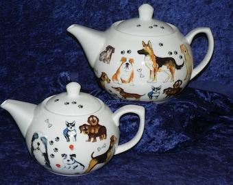 Dogs design 2 cup or 6 cup ceramic teapot or choose milk jug or sugar bowl