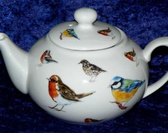 Garden Birds teapot - 2 cup or 6 cup teapot decorated allover with popular garden birds Robin, Bluetit.Thrush,Chaffinch