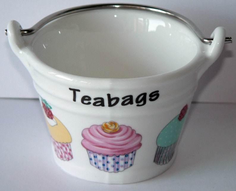 decorated with cupcake fairy cake choice of 2 sizes Cupcake teabag tidy Bucket