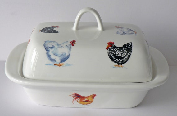 Colourful Cockrels Chicken porcelain deep white butter dish different chickens