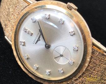 Longines 14kt Gold Wrist Watch with Diamond Dial