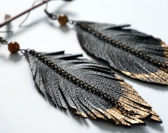Black Leather Feather Earrings - Rustic Leather Earrings - Large Leather Earrings - Feather Earrings - Leather Earrings - Recycled Earrings