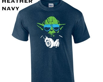 55d5f0f0 DJ Yoda funny jedi star light saber music lyrics costume college party  vintage geek retro - Mens T-shirt - apparel clothing - 172