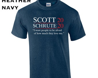 41b7a9f4 Scott Schrute 2020 election president politics tv show funny dwight michael  college party office - Mens T-shirt - apparel clothing - 457