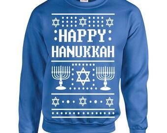 1a35234f1 Happy Hanukkah Ugly Christmas Party 90s sweater jewish holiday x-mass  present vintage retro - Crew Sweatshirt - apparel clothing - 528
