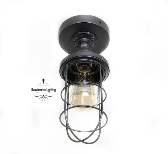 Industrial Iron Flush Mount with Cage, Steampunk Lighting, Retro Lighting.