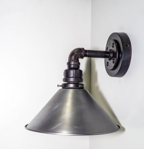 Industrial wall sconce , steampunk lighting,Industrial Lighting . Iron and steel