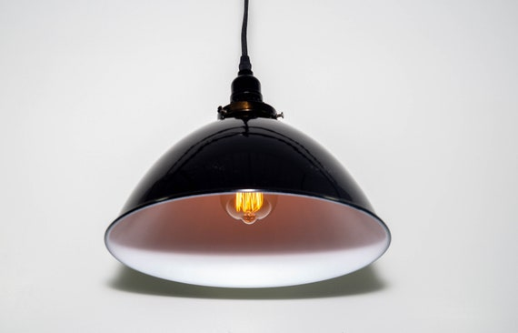 Plug in Pendant with 12 inch Black Porcelain Shade, Retro lighting,vintage Lighting