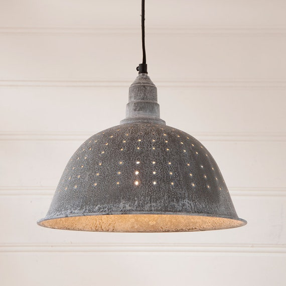 Colander Pendant Light in Weathered Zinc Tin